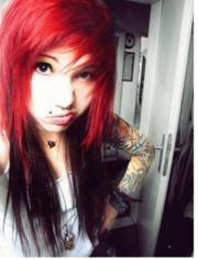 red and black scene emo hair