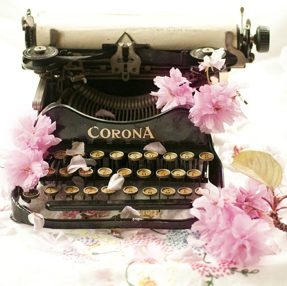 Vintage Typewriter Photograph, Cherry Blossoms