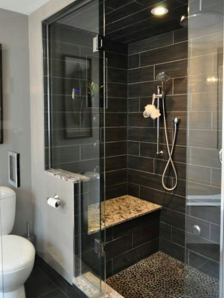 Not enuf room for seat in our shower but i like the idea of 1/3 wall by toilet for toilet paper and maybe something on shower sided instead of seat.
