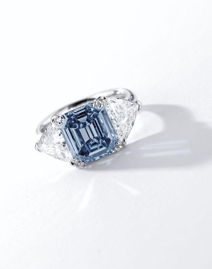 Fine Fancy Vivid Blue Diamond and Diamond Ring | Lot | Sotheby's