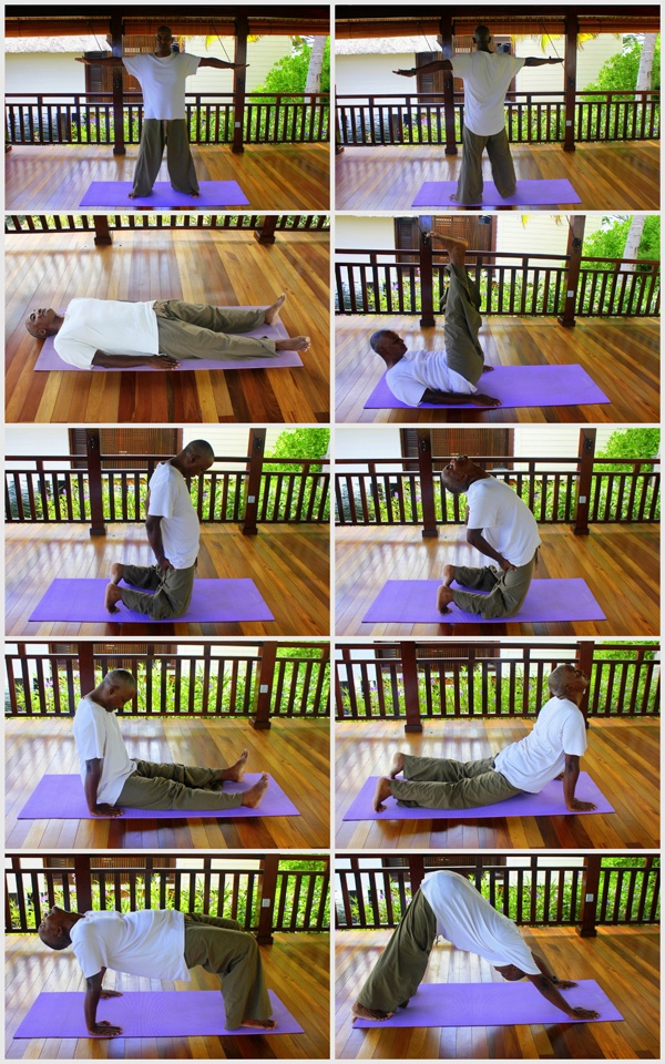 @Four Seasons Resort Mauritius at Anahita's 5 Tibetan Rituals will de-stress & energize you for the holidays! 1. Stand feet forward. Extend arms to sides. 2. Spin. 3. Lie w/ arms at sides, palms against floor. 4. Inhale, raise head, lift legs. Exhale. Lower. 5. Kneel w/ toes tucked, hands on thighs. 6. Tilt head, arch spine. Use hands for support. 7. Sit w/ straight legs, palms on floor. Tuck chin. 8. Tilt head. Raise body until knees bend. 9. W/ hands/toes on floor, tilt head. 10. Tent shape.