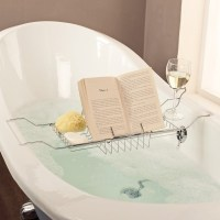 bathtub wine and book holder zuda bamboo bathtub caddy ...