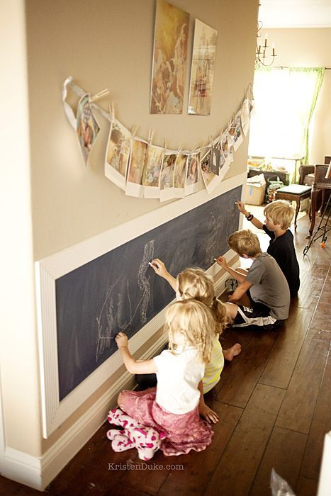 Another fun chalkboard wall... Love the hanging photos too!