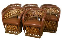 Mexican Leather Barrel Chairs, S/8