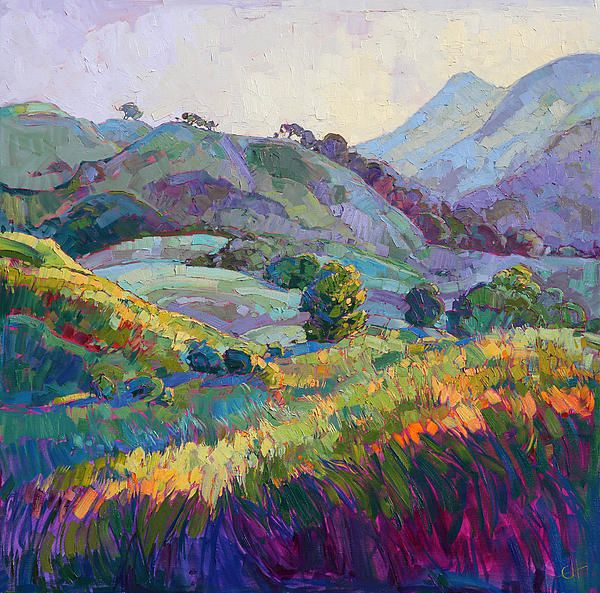 Jeweled Hills Painting by Erin Hanson -