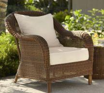 pottery barn honey wicker chair