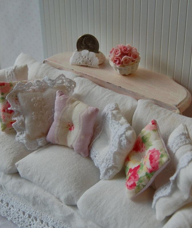 Reserved for Carol Dollhouse Shabby Chic White Wrinkle Slipcover Sofa.