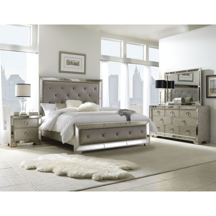 Celine 6piece Mirrored and Upholstered Tufted Kingsize