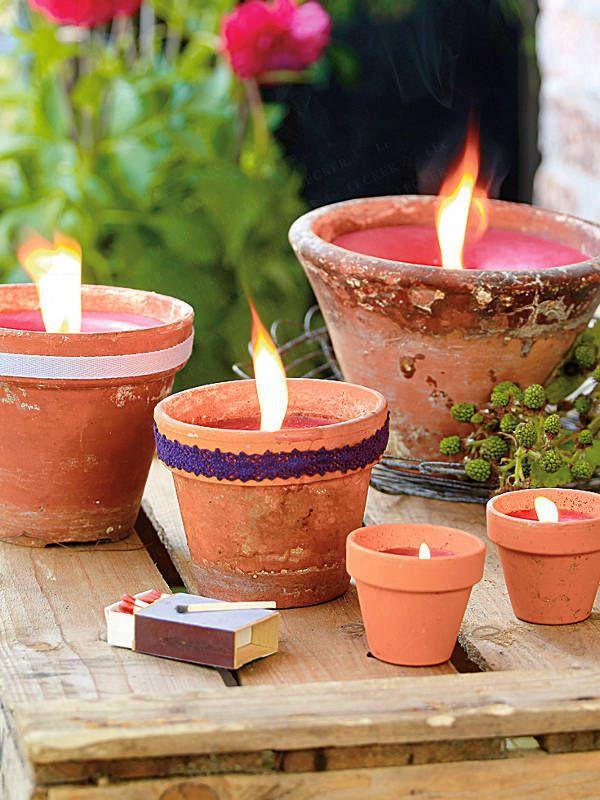 ❥ garden pot candles