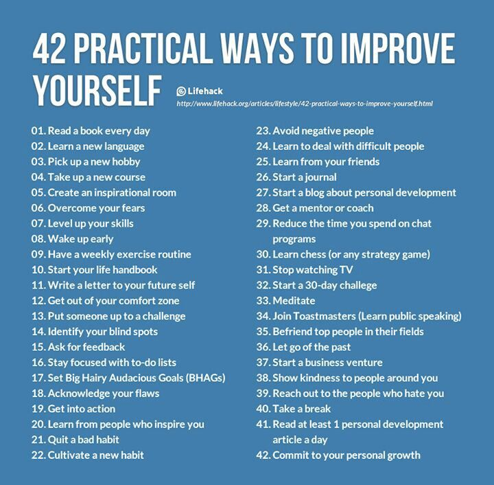 List Self Improvement Ideas