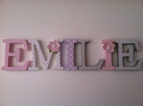 Wooden letters for nursery in pink, gray and lavender