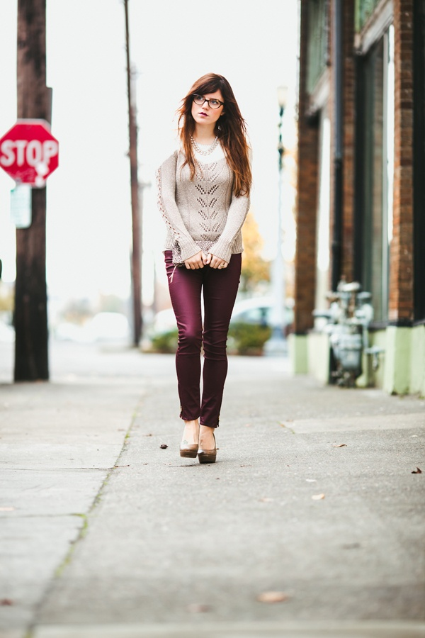 oxblood pants. great way to incorporate the trend for fall. #OnlineShoes