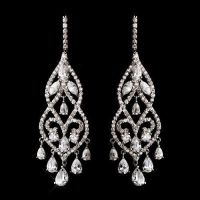 Dramatic Silver Plated Cubic Zirconia CZ Chandelier Bridal