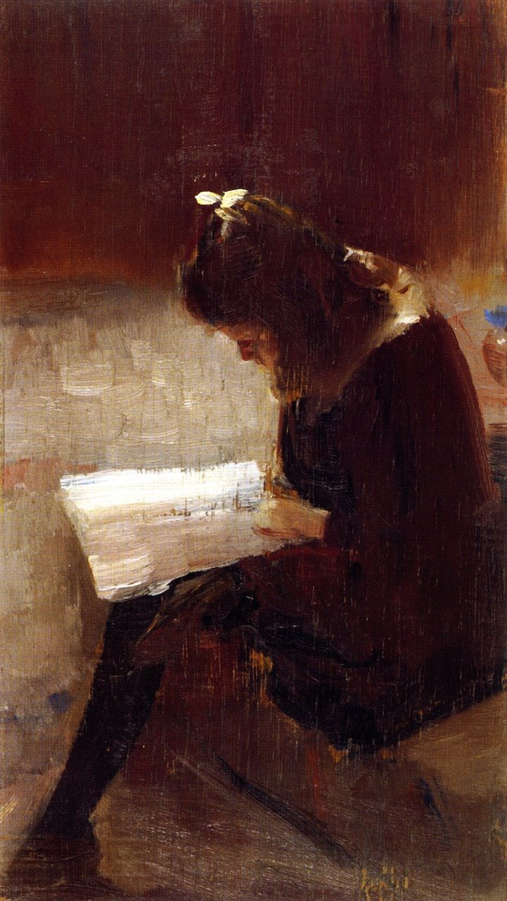 Harper's Weekly(c.1889). Tom Roberts (Australian, 1856-1931). Oil on wood panel.National Gallery of Victoria, Melbourne.