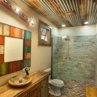 Old Barn Wood Tin on Bathroom Ceiling | Barnwood | Pinterest