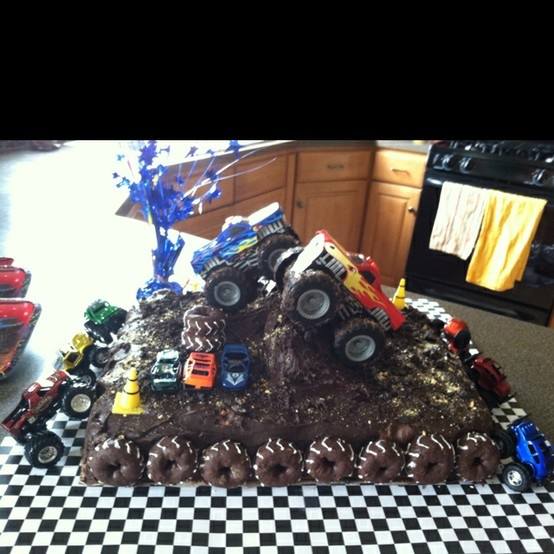 Pin Monster Truck Birthday Party Fondant And Icing Cake On