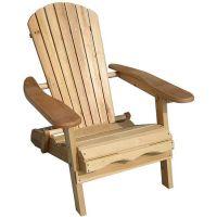 Foldable Adirondack Natural Finish Patio Chair Kit