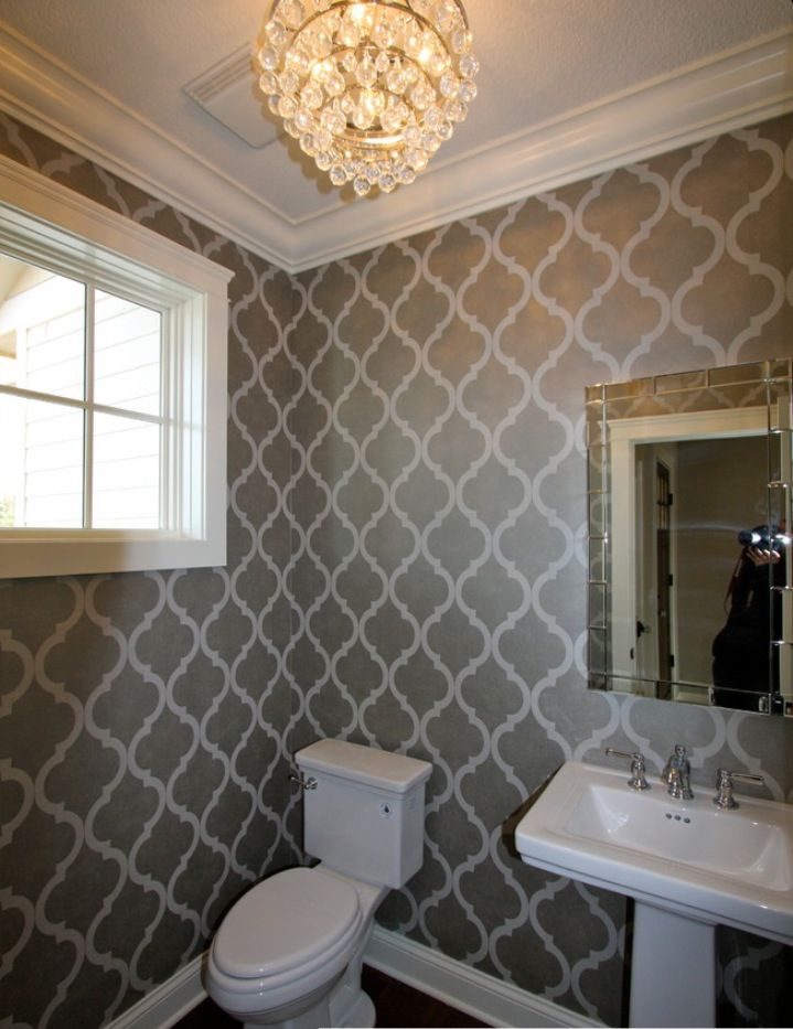 Main floor bathroom wallpaper.