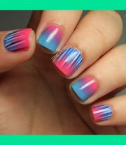 pink & blue nails green