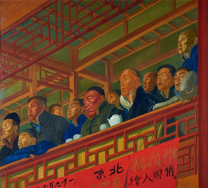 Completed in 1918, Loge de Théâtre à Pekin is one of only a few large-scale paintings created during a two-year long journey across China that Yakovlev embarked upon only months before the 1917 Socialist Revolution erupted in Russia. Photo: Bonhams