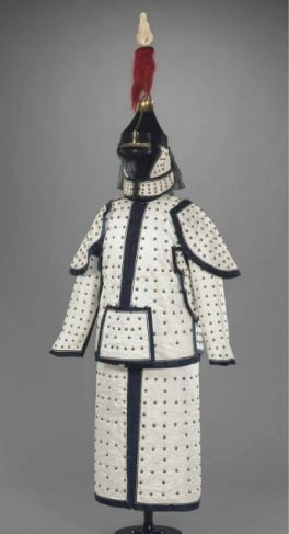 A rare dated white satin imperial guardsman's ceremonial uniform and helmet, Qianlong period (1736- 1975)