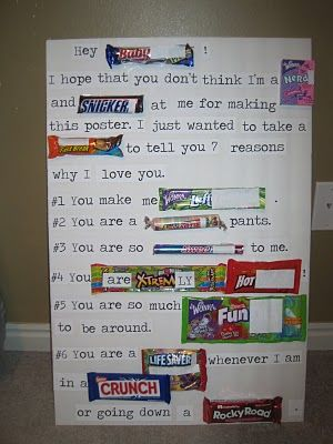 Candy poster...need some inspiration.  thinking about doing this as part of Zane's Valentine's Day present