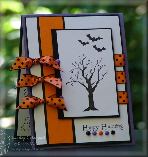 "Haunting Sketch ""Happy Halloween"" Card...with orange & black polka dot ribbon...by Denise Marzec."