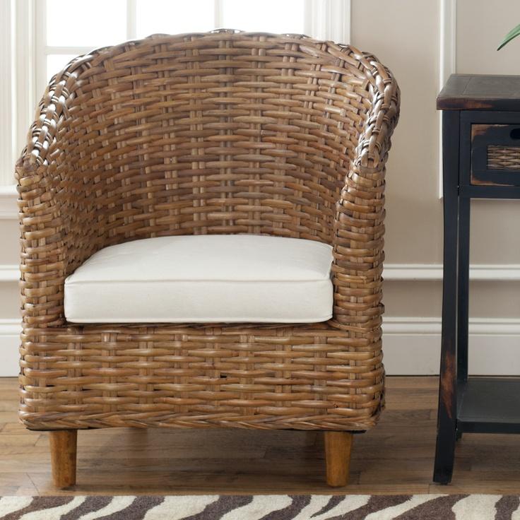 Safavieh St Thomas Indoor Wicker Honey Brown Barrel Chair