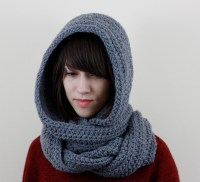 Gray Hooded Scarf Mens Hooded Scarf Womens Hooded Scarf ...