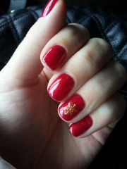 red glitter christmas nails -pin