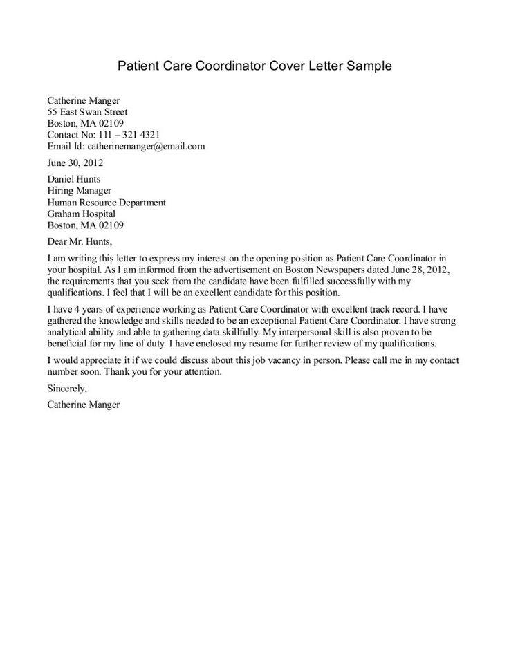 Patient Care Tech Resume Cover Letter  Resume Template  Pinterest