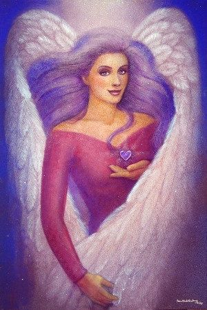 """Amethyst Heart Angel"" spiritual art purple hair woman by Sue Halstenberg"
