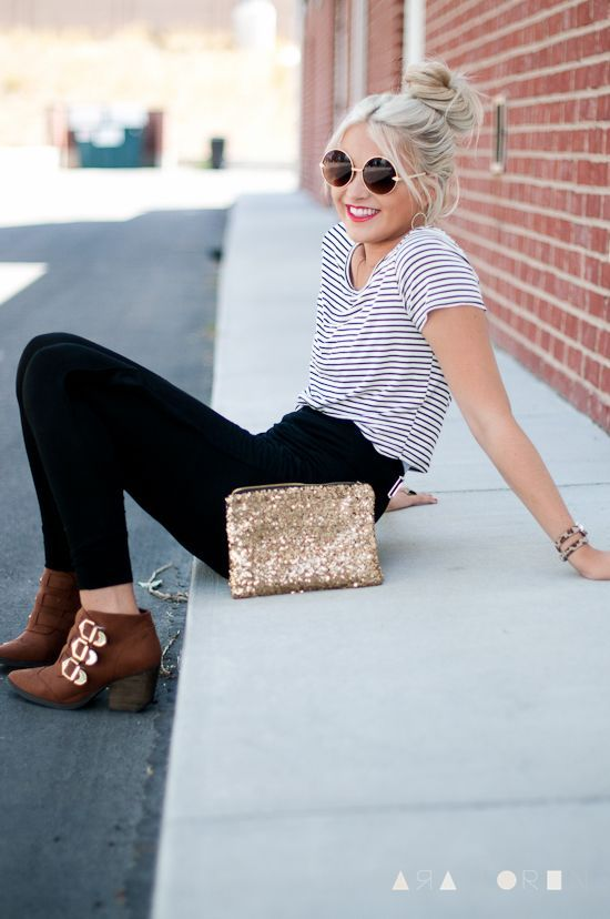 Love everything about this! High-waisted black jeans with striped top and booties, perfect everyday outfit look.