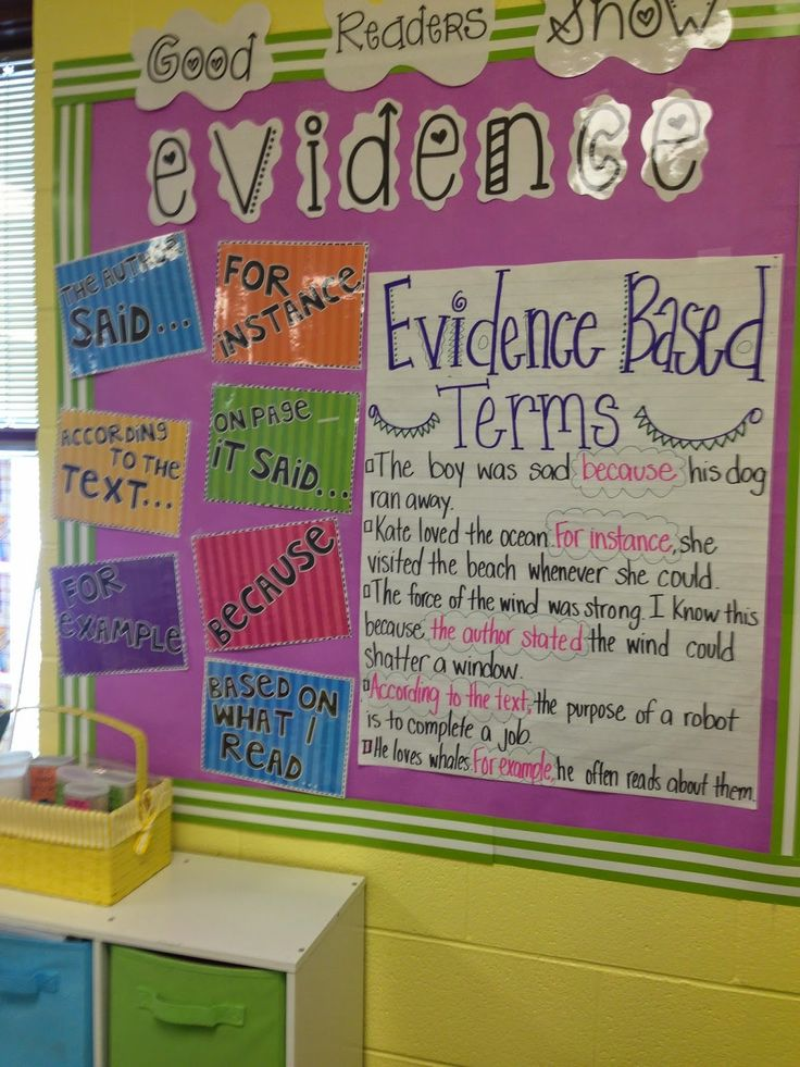 Good Readers Show Evidence- great bulletin board to encourage students to use evidence based terms to respond to their reading! {freebie posters included!}