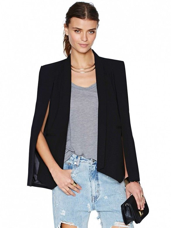 This cape-blazer is the perfect day-to-night to weekend topper for any girl. // Champagne Taste Cape Blazer by Nasty Gal