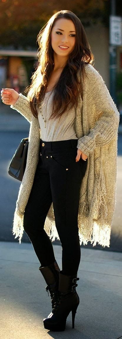 Adorable long cardigan and outfit for winter
