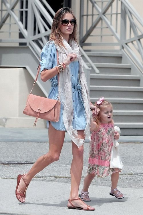Alessandra Ambrosio wearing Salvatore Ferragamos Spring/Summer 2011 Sandals Salvatore Ferragamo Clutch Genetic Denim Sylvia Braided Denim Belt Shirt Dress Rolex Oyster Perpetual Day-Date watch  Los Angeles May 12 2011