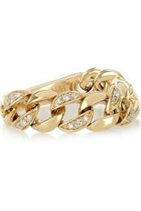 Chain 14-karat gold diamond ring