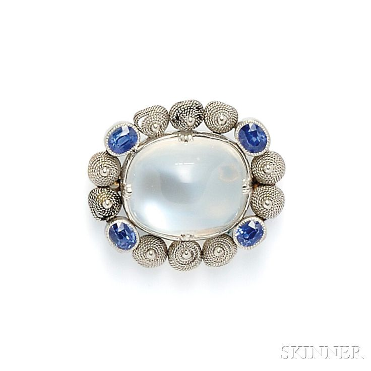 Arts & Crafts Moonstone and Sapphire Brooch, Tiffany & Co.   Sale Number 2746B, Lot Number 468   Skinner Auctioneers