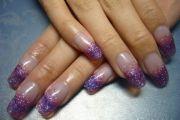 purple glitter acrylic nails