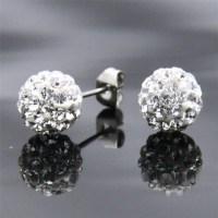Sparkle Shamballa Swarovski Crystal Ball Stud Earrings for