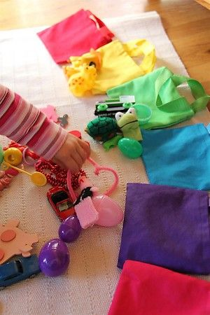 Color sorting with mini bags...
