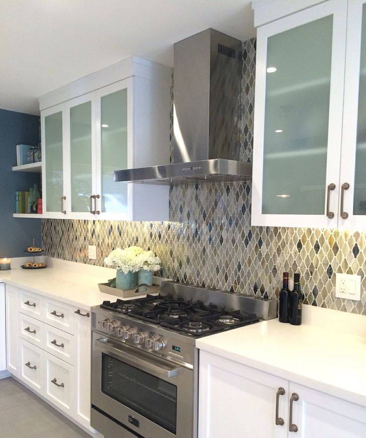 White cabinets with frosted glass  Kitchen  Pinterest