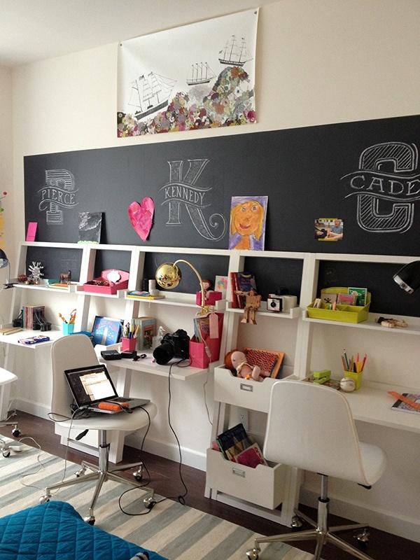 Shared room desk area- love the chalkboard art