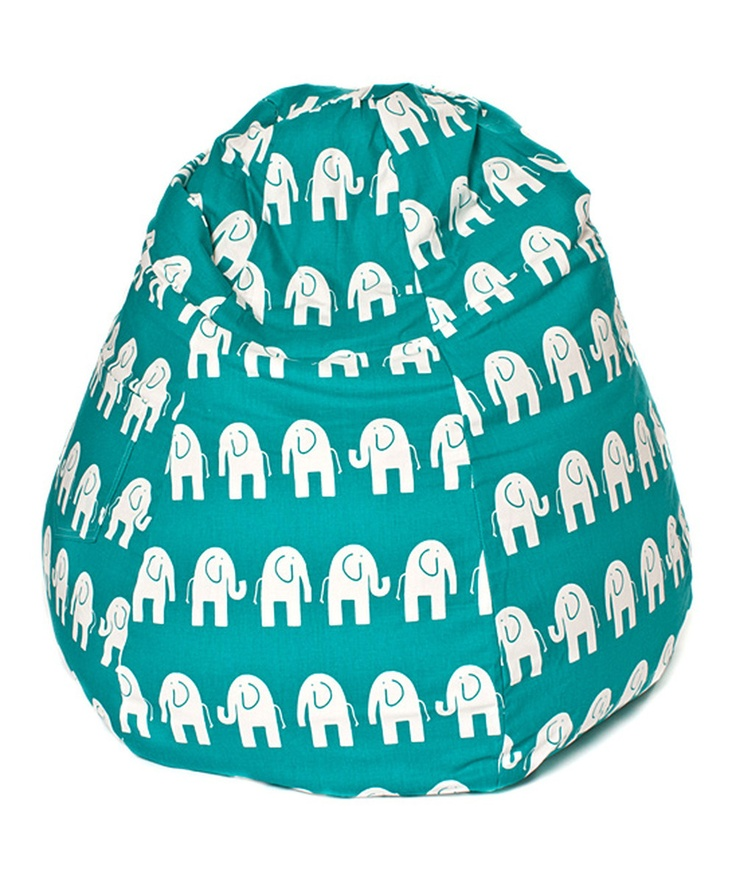 Teal  White Elephant Tear Drop Bean Bag Chair