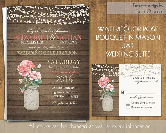 Mason Jar with Roses Rustic Wedding Invitations - Soft Pink Coral Roses | Barn or Rustic Wedding Invitations | on Wood Grain  by NotedOccasions, $45.00