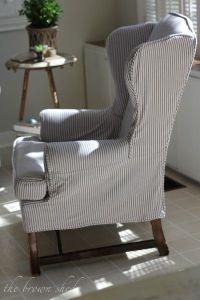 Slipcovered wingback in pillow ticking. | Living Room ...