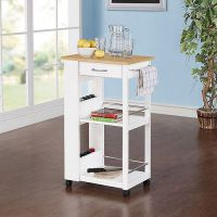 Small Kitchen Rolling Cart Island Storage Butcher Block ...