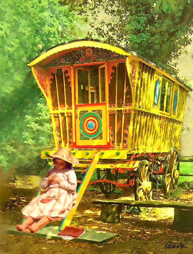Gypsy Living Traveling In Style | Serafini Amelia| Wanderlust-Gypsy Traveler Gypsy art pictures images photos | Gypsy Caravan Painting by Michael Essex - A Gypsy Caravan Fine Art ...