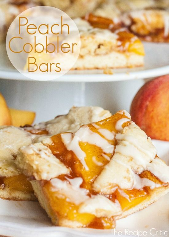 Peach Cobbler Bars.  Super delicious and makes enough to feed a crowd!